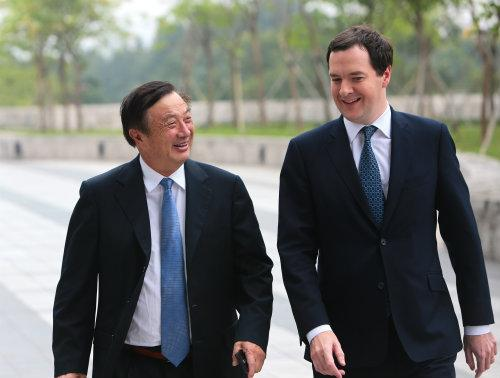 Charm offensive: Huawei CEO Ren Zhengfei with the UK's Chancellor of the Exchequer, George Osborne, who visited Huawei's Shenzhen headquarters on his trade mission to China.