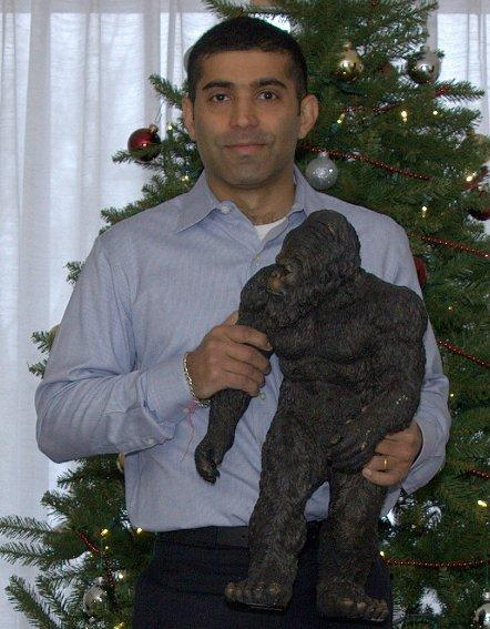 Cyan's Nirav Modi enjoys the holiday spirit with his new pal.