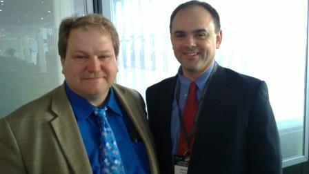 Matt Beal (right) poses with former BT colleague Matt Bross (left) in 2011.