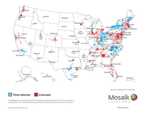 If consummated, the proposed Comcast buyout of TWC would give the combined company control over huge swaths of the US, especially east of the Mississippi. This map from Mosaik shows the Comcast cable systems in red and the TWC systems in blue.
