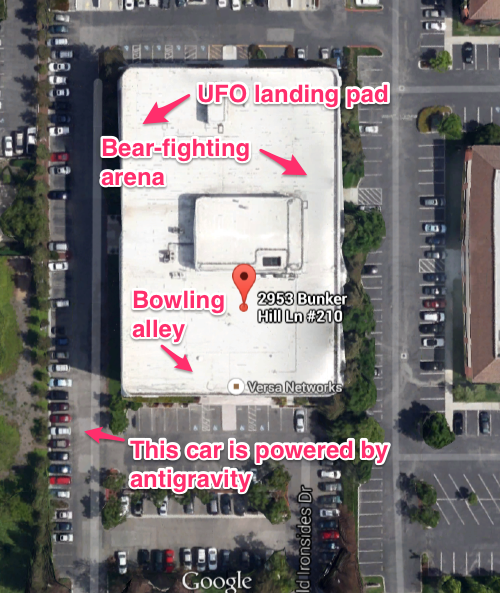 Viewed from Google Earth. We have helpfully highlighted key features of the office. You're welcome!