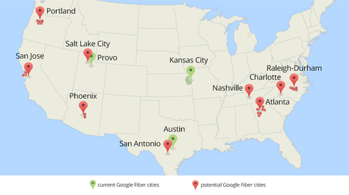 As this map from Google Fiber shows, the FTTH provider is eyeing markets across the US, especially in the SE and SW.