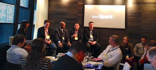 Chicago Sun-Times reporter Sandra Guy lobs questions at Sprint CTO Stephen Bye, NSN VP Bill Payne, Spotify VP Brian Berner, and Yankee Group analyst Rich Karpinski.
