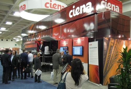 Ciena's main attractions were its truck, its dynamic capacity pricing and allocation presentation (just to the right of the truck door), and a vending machine that dispensed T-shirts. There's never a lack of demand for T-shirts...