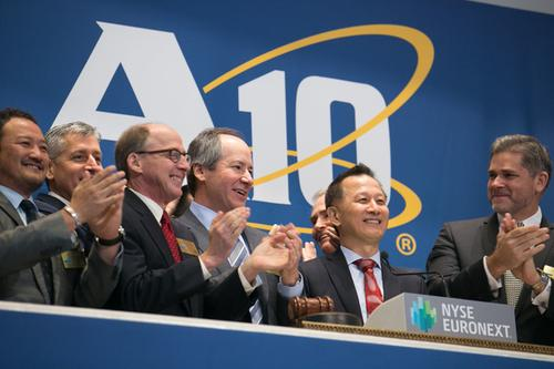 A10 Networks founder and CEO Lee Chen rings the opening bell on the New York Stock Exchange. Given the stock's tepid performance on the first day of trading, he should have just tapped the bell gently.