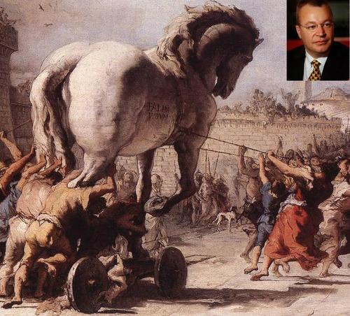 Trojan horse? Nay! It's all Greek to me, says Microsoft's Stephen Elop (inset). Sort of.