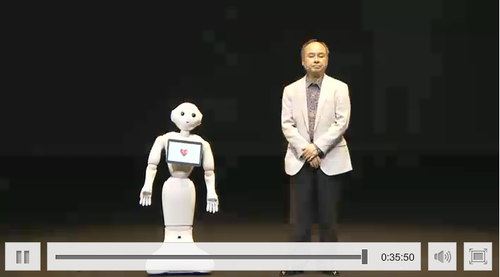 The waist-high Pepper household robot will go on sale in February, but starts working in stores in Japan Friday.