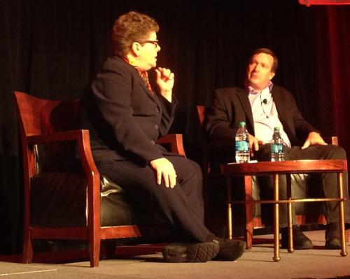 Carol Wilson, Light Reading editor-at-large, ponders a point with John Considine, Verizon Terremark CTO.
