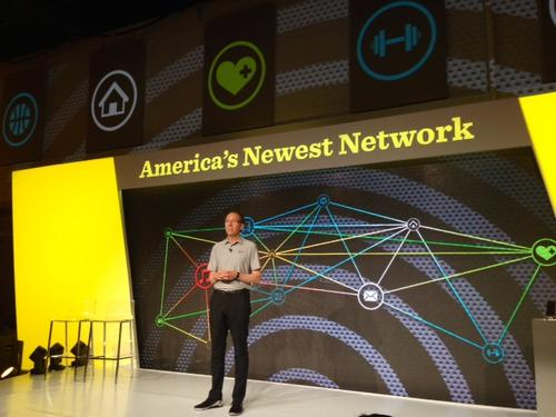 Sprint CEO Dan Hesse took to the stage, wearing his new favorite brand, to talk about America's newest -- and most complex -- network.