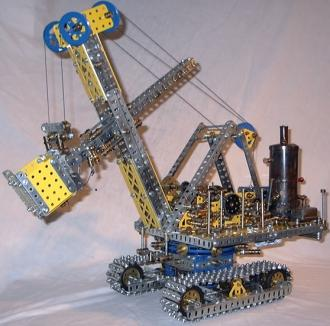 Source: 'Meccano model Steam shovel excavator'. Via Wikipedia. Meccano was the original name for the toy in Britain, later sold in America as Erector Set.