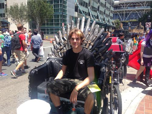 Pedicabs around the Convention Center were redecorated to look like the Iron Throne in the HBO series Game of Thrones. People fought over the rides viciously. For a while, this pedicab was occupied by an obnoxious kid whose mother and uncle seemed a bit too fond of one another.