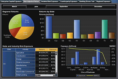 This sample screenshot shows how a risk management report might look when compiled using SAS Visual Analytics.