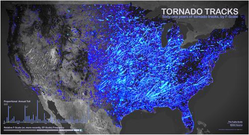 A map of tornado activity in the U.S., 1950 to 2011. Photo: John Nelson / IDV Solutions