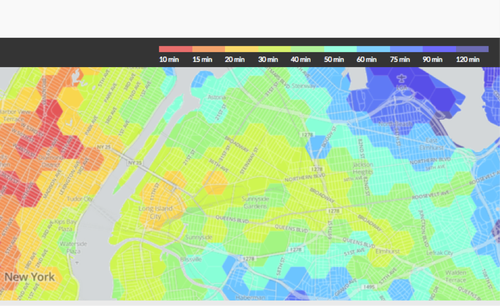 WYNC, a New York public radio station, created this interactive 'travel time' visualization to go along with a story it aired on the lengthening commute times for people 'of lesser means' being pushed out of Manhattan. All you have to do is pick a starting point to see subway travel times to everywhere else in NYC. The tool includes travel times for the Staten Island Railway, but not ferries, buses... or bikes. To build the interactive map, developers said: 'We divided NYC into 2,930 hexagons and calculated the time it would take to travel by subway and walking from the center of each hexagon to every other using OpenTripPlanner and the MTA's subway schedule data. We simulated each trip as starting at 9 a.m. on a weekday.' They also noted that the 4.3 million calculations 'took four extra-large Amazon Elastic Compute Cloud instances just under a week to complete.'