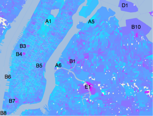 The sentiment map shows high levels of happiness at Central Park (A1) and high levels of unhappiness at Penn Station (B4) and Maspeth Creek (E1).