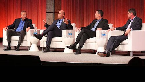 Jim Goodnight, SAS CEO; Shawn Hushman, Vice President of Decision Sciences for Cox Automotive; Chris Donovan, Executive Director of Enterprise Information Management and Analytics at the Cleveland Clinic; Oliver Schabenberger, SAS CTO.