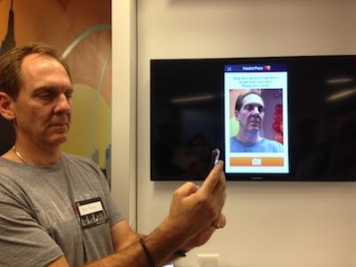 Bob Reany, MasterCard, showcases facial recognition authentication.
