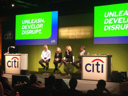 Citi technology executives answer questions from the crowd of developers.