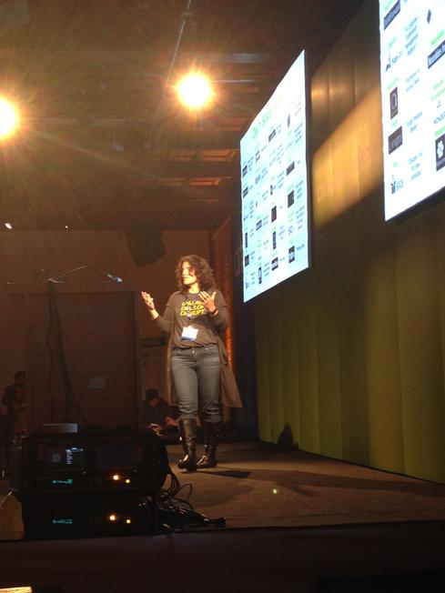 Citi's Melissa Stevens on stage at the Citi Mobile Challenge demo day.