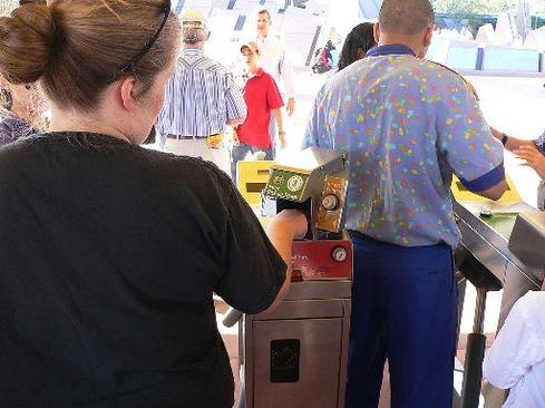 At Walt Disney World, biometric measurements are taken from the fingers of guests to ensure that a ticket is used by the same person from day to day. (Image: Wikipedia)
