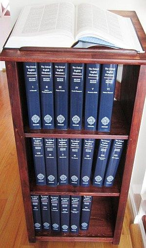 The OED at Ransom's house, including the beautiful OED-case that he built. Photo by Ransom Stephens.