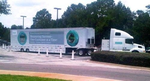Siemens tech roadshow is fitted inside a 53-foot tractor-trailer.