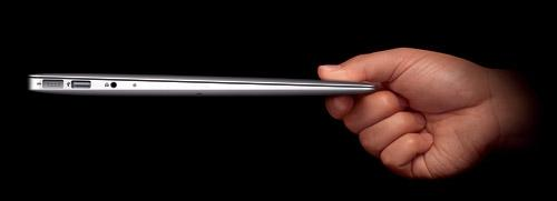 Apple's MacBook Air uses lithium polymer batteries to achieve its 0.67-inch thickness.  Source: Apple Inc.