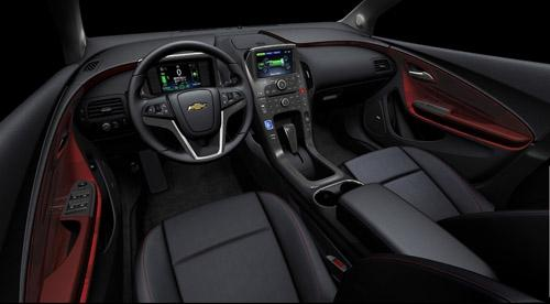 The Volt's spiced red interior gives the feel of a fighter jet cockpit.  Source: GM