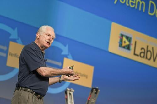 National Instruments President and CEO James Truchard speaking at NIWeek on Tuesday.