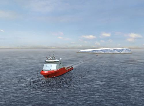 A critical piece of Mougin's 'Ice Dream' concept is an innovative belt and skirt solution that protects  the tabular iceberg from melting as it is towed on its cross-oceanic journey.