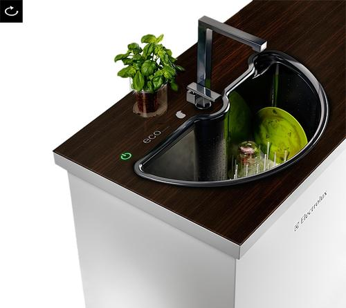Korean design firm Ahhaproject created the Eco Automatic Swivel-in-the-Sink dishwasher for Electrolux.
