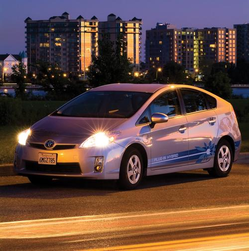 The Prius PHV looks like a conventional Prius, except for the charge port near the left front wheel.