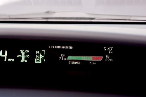 An energy display on the Prius PHV dashboard tells users how much of their driving is in the all-electric mode and how much is in hybrid mode.