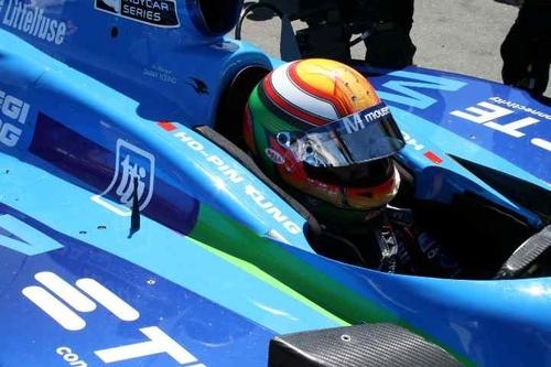 Driver Ho-Pin Tung in his Indy car at Infineon Raceway for the Indy Grand Prix of Sonoma.  (Photo courtesy Mouser Electronics)