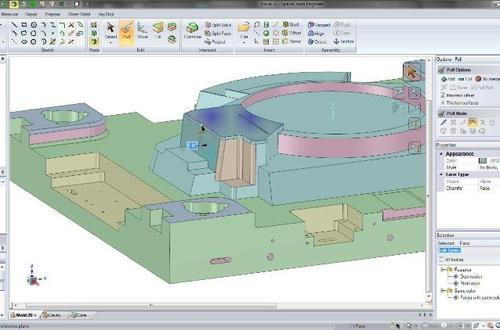 SpaceClaim can edit parts imported from other CAD systems, which can be useful when preparing models for manufacturing. For example, SpaceClaim's Pull tool can adjust drafts without knowledge of original constraints or the history tree.