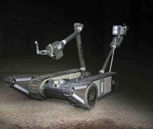 iRobot's PackBot searches buildings, caves, and bunkers and can neutralize roadside bombs.  (Photo courtesy of iRobot.)