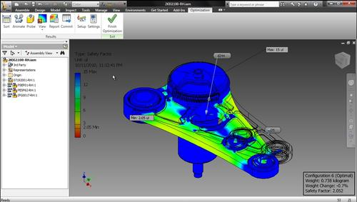 Autodesk Inventor optimization offloads simulation tasks to the cloud, letting users test multiple design variables.