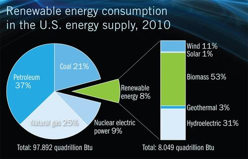 Between 2009 and 2010, renewable energy consumption rose by 6 percent, to more than 8 quadrillion BTUs.  (Source: US Energy Information Administration)