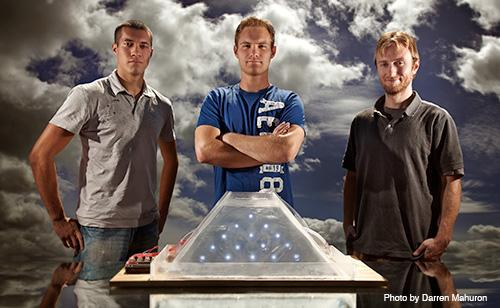 The creators of the Mayan Water Sound Fountain: (left to right) Torry Neuhoff, Joseph Kopacz, and Topher Peter.(Philip Karlberg is not pictured.)