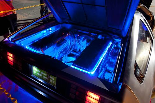 The DeLorean's 'battery bay' houses the vehicle's electric motor and half of its battery pack.   (Photo courtesy of DeLorean Motor Co.)