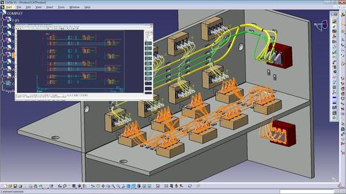 Elsys CATELECTRE integrates and fully synchronizes the ELECTRE 2D electrical schematic design with the 3D CATIA physical model