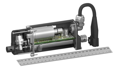The new Thomson Electrak smart actuator is a single actuator with onboard electronics that can provide speed, current, and position sensing, as well as temperature and voltage compensation.