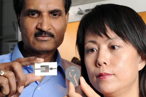 Krishna Naishadham, left, and Xiaojuan (Judy) Song display two types of wireless ammonia-sensing prototype devices.   (Georgia Tech Photo: Gary Meek.)