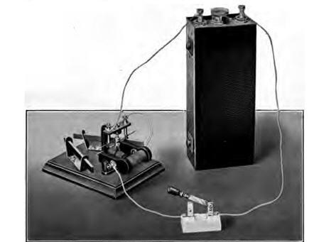 An Edison storage battery in test setup, from the 1916 monograph 'The Edison Alkaline Storage Battery,' by the technical staff of the Edison Storage Battery Co.