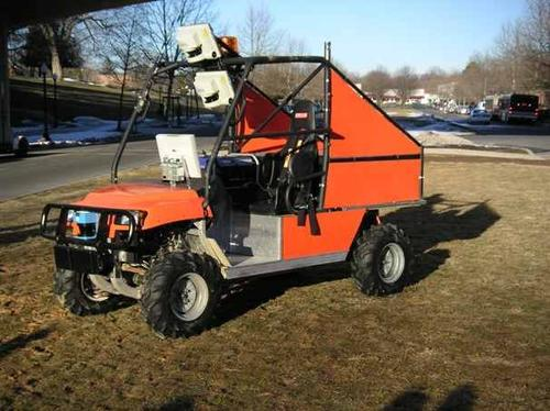 Virginia Tech's 'Cliff' autonomous vehicle used a behavior-based computing model to find its way across the DARPA Grand Challenge course. Laser measurement systems are mounted atop the vehicle's steel frame. 