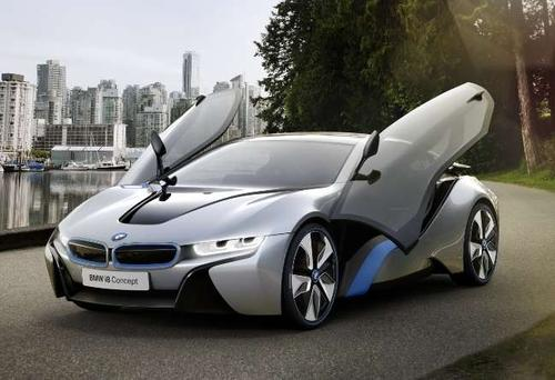 The doors of the BMW i8 plug-in hybrid swing upward like wings to provide a sporty feel.  (Photo courtesy of BMW)