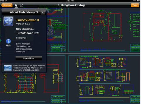 This native viewer for the ubiquitous DWG CAD file format supports both 2D and 3D renditions. Usability features include pan and zoom. Files can be accessed via ftp or Dropbox. $3.99. Go here.