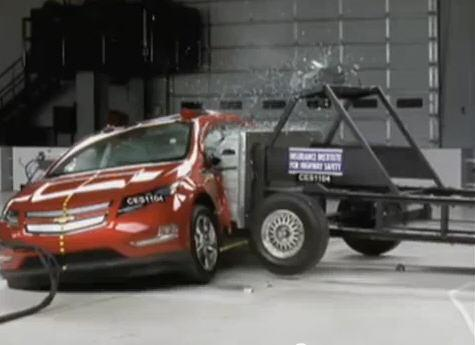 Chevy Volt in a side crash test, performed by the Insurance Institute for Highway Safety.