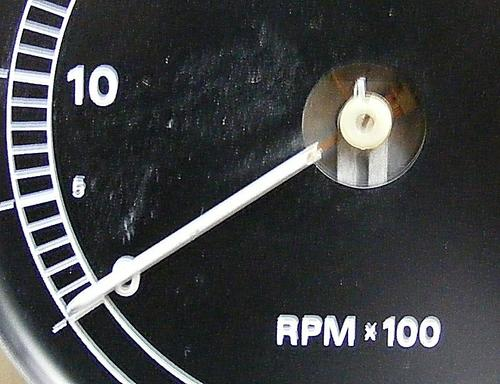 A closeup of the 1960s Ford tachometer.