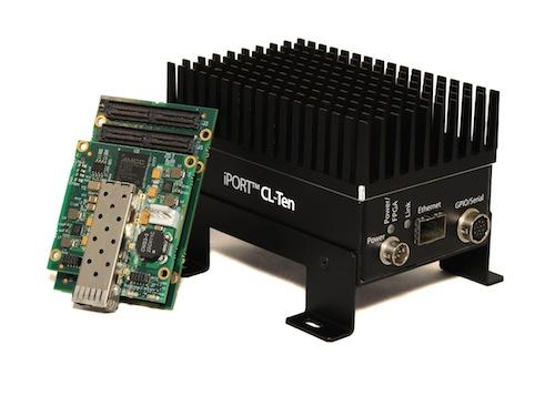 A GigE Vision machine vision network can be upgraded to 10GigE speeds and still deploy Camera Link cameras  using devices such as this iPORT CL-Ten transmitter, with two Camera Link ports and a 10GigE port.